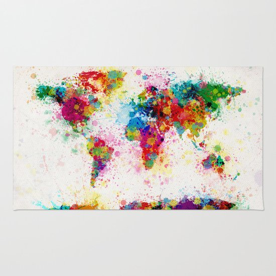 Map of the World Map Paint Splashes Rug