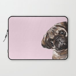 Sneaky Melancholic Pug in Pink Laptop Sleeve