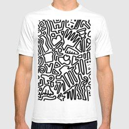 black & white doodle T-shirt