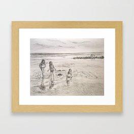 Girls Beach Day Art Drawing Framed Art Print