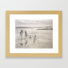 Girls Beach Day Art Drawing Framed Art Print