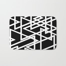 Interlocking White Triangles Artistic Design Bath Mat