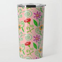 Lovely Colorful Floral Pattern Travel Mug
