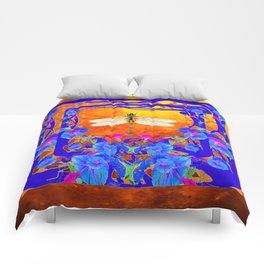 Blue Morning glories Dragonfly Golden Surreal Art Comforters