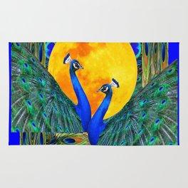 FULL GOLDEN MOON & 2  BLUE PEACOCKS PATTERN ART Rug