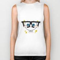spongebob Biker Tanks featuring Spongebob Nerd Face by Cute Cute Cute