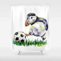 football Shower Curtains featuring Football by Anna Shell
