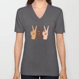 Peace Hands 3 Unisex V-Ausschnitt