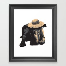 Rhino in Sun Hat Framed Art Print