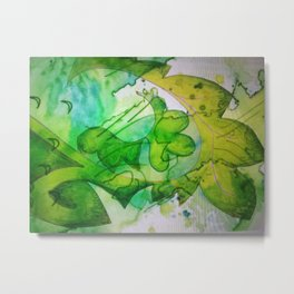 Green Fling Metal Print