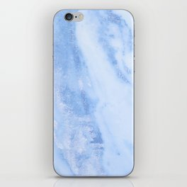 Shimmery Pure Cerulean Blue Marble Metallic iPhone Skin