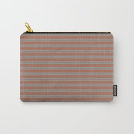 Cavern Clay Warm Terra Cotta SW 7701 Horizontal Line Patterns 1 on Slate Violet Gray Carry-All Pouch