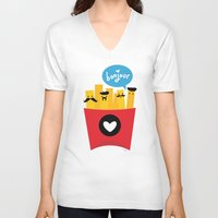 fries V-neck T-shirts featuring French Fries by Reg Silva / Wedgienet.net