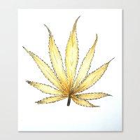 cannabis Canvas Prints featuring Golden Cannabis by  Can Encin