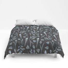 Modern botanical black gray watercolor floral Comforters