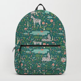 Wild Zebras in Green Garden Backpack