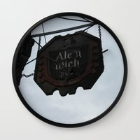 ale giorgini Wall Clocks featuring Ale 'n 'Wich by Caitlin