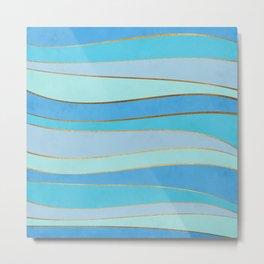 Waves Pattern - Golden Glitter Metal Print
