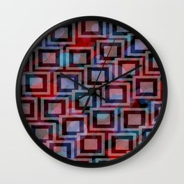 Black and White Squares Pattern 01 Wall Clock
