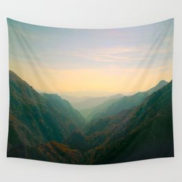 Mountain Valley Parallax Green Yellow Hues Sunset landscape Minimalist Modern Photo Wall Tapestry