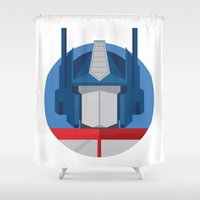 optimus prime Shower Curtains featuring Optimus Prime Dots.  by Federico Giuliani