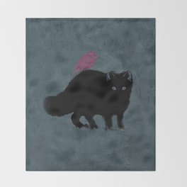 Cat and bird friends! Throw Blanket