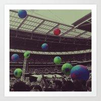 coldplay Art Prints featuring Coldplay at Wembley by Efua Boakye