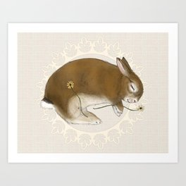 Sleeping Bunny in Cream Lace Wreath Art Print