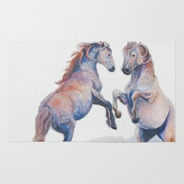 Fighting Stallions Wild Horse Rug