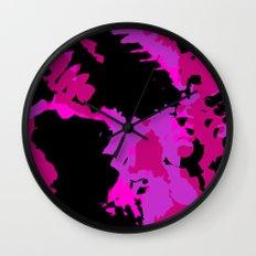 Fuchsia and black abstract Wall Clock