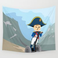 napoleon Wall Tapestries featuring Napoleon Segways the Alps by Mouki K. Butt