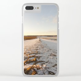 Ruts on a snow-covered road Clear iPhone Case