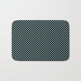 Black and Aqua Haze Polka Dots Bath Mat