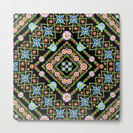 Millefiori Floral Lattice Metal Print