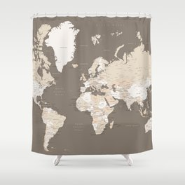 World Map With Cities Earth Tones