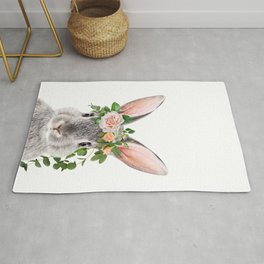 Baby Rabbit, Bunny With Flower Crown, Baby Animals Art Print By Synplus Rug