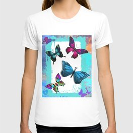 Morpho Blue Aqua Pink Butterflies T-shirt