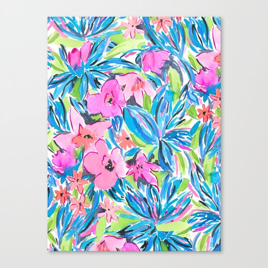 Flaunting Floral Aqua Canvas Print