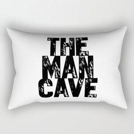 The Man Cave (black text on white) Rectangular Pillow
