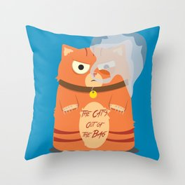 The Cat's Out of the Bag Throw Pillow