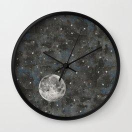 Watercolor Space Moon Robayre Wall Clock
