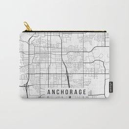 Anchorage Map, Alaska USA - Black & White Portrait Carry-All Pouch