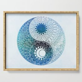moon and sung (blue) Serving Tray