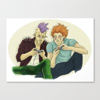 playstation Canvas Prints featuring Two Killers and a Playstation by dedfox