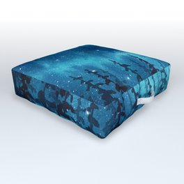 """Blue Aurora"" watercolor landscape painting Outdoor Floor Cushion"