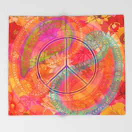 Hippie Chic Paisley Flowers Peace Throw Blanket