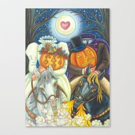 SLEEPY HOLLOW WEDDING - Brack Headless Horseman Halloween Art Canvas Print