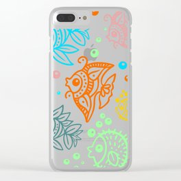 Fishes Batik Style Seamless Pattern Clear iPhone Case