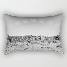 Desert Moon Ridge B&W // Summer Lunar Landscape Teal Sky Red Rock Canyon Rock Climbing Photography Rectangular Pillow