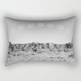 Desert Moon Ridge B&W // Summer Lunar Landscape Teal Sky Red Rock Canyon Rock Climbing Photography Rectangular Pillow